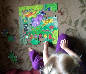 My three year old does the Animal Boogie puzzle by herself. She continues to put it together at least once a day.
